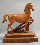 Anri hand carved wood horse statue