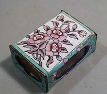 Old porcelain matchbox holder and matchbox