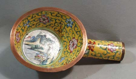 Enamel on copper hand painted scene on this scoop