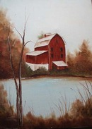 Oil Painted Barn on Canvas