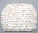 Beads and plastic sequin work on this little clutch purse with chain