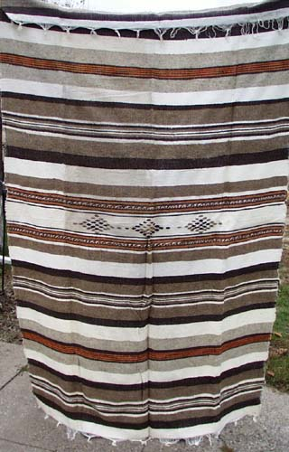 Woven Blanket brown, white and orange