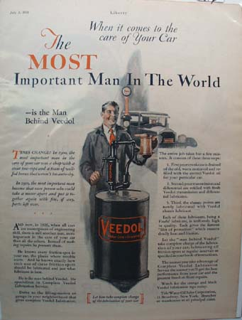 Veedol Motor Oil Car Care Ad 1926