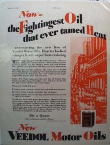 Veedol Fightingest Oil Motor Oil Ad 1928