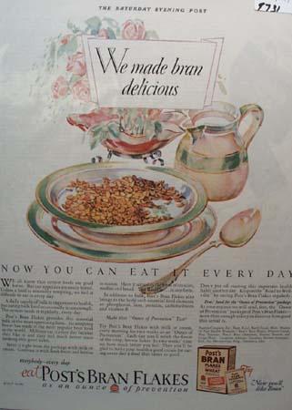 Post's Delicious Bran Flakes Ad 1927