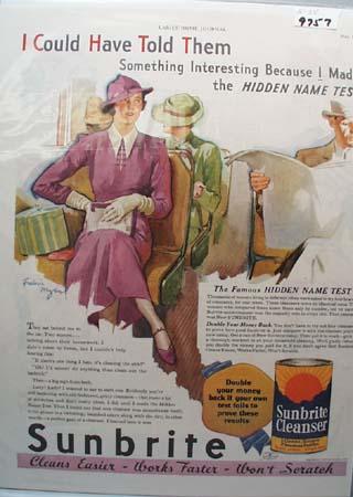 Sunbrite Cleanser Hidden Name Test Ad 1935