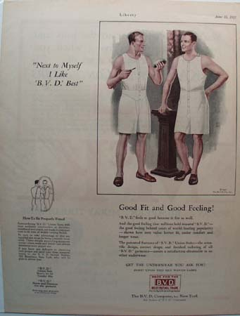B.V.D. Next to Myself Underwear Ad 1927