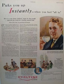 Ovaltine Instant Pick Up Ad 1928