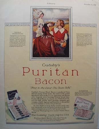 Cudahy's Puritan Bacon Thanksgiving ad 1928