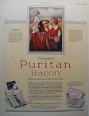 Cudahy's Puritan Bacon Thanksgiving ad 1928