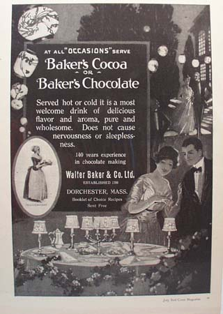 Baker's Cocoa All Occasions Ad 1920