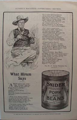 Snider Pork & Beans What Hiram Says Ad 1907