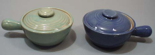 Pair of blue and green yelloware individual casserole bowls