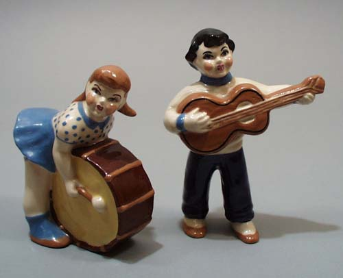 California Pottery musician figurine pair