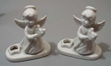 Porcelain Christmas Angle candle holder pair