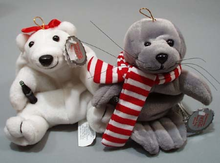 Pair of Coca Cola Beanie type animals