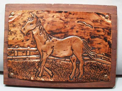 Horse copper press picture