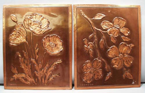 Poppy and Dogwood copper picture
