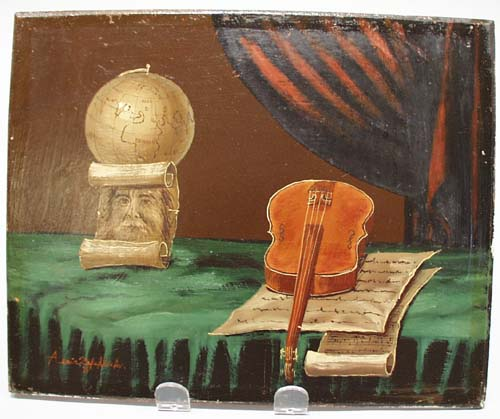 Unusual Violin oil painting by A. Zafehlisky