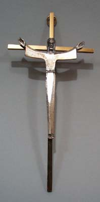 Brass and pewter Cross with modern look