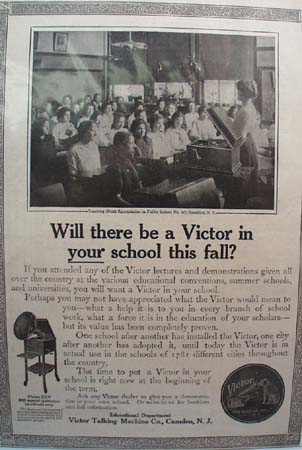 Victor Talking Machine in School Ad 1914