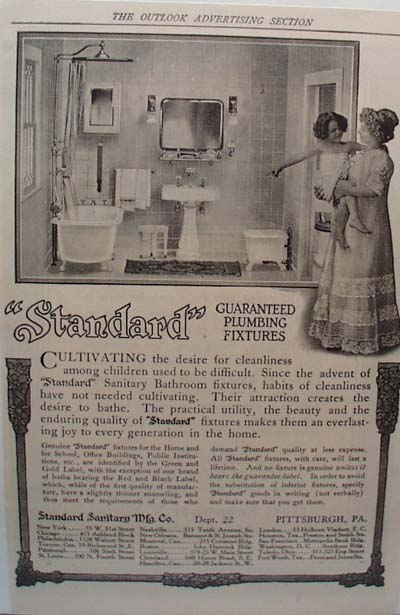 Standard Sanitary Cultivating Cleanliness Ad 1912