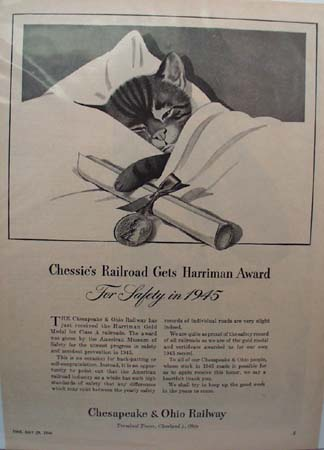 Chesapeake & Ohio RR Chessie's Award Ad 1946