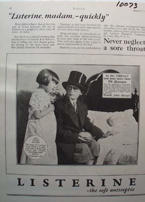 Listerine Antiseptic Never Neglect Sore Throat Ad 1928