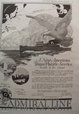 Pacific Steamship Company To The Orient Ad 1921
