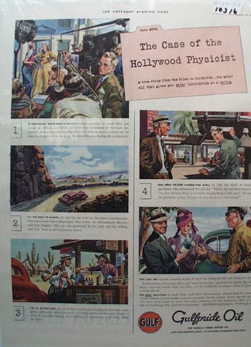 Gulfpride Oil Case of Hollywood Physicist Ad 1939
