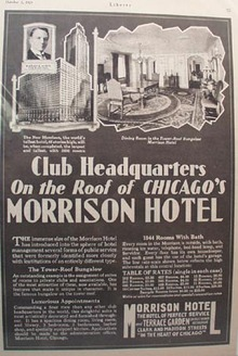 Morrison Hotel Club Headquarters Ad 1929