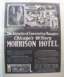 Morrison Hotel Favorite of Convention Mgrs.Ad 1929