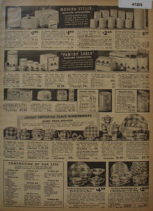Sears Plaid Dinnerware And Containers 1938 Ad