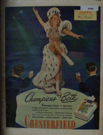 Chesterfield Cigarettes 1945 Ad Sonja Henie