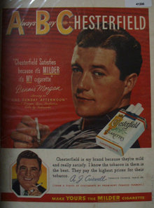Chesterfield Cigarettes 1949 AD with Dennis Morgan
