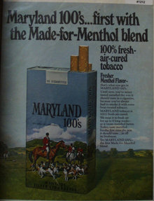 Maryland 100s Cigarettes 1970 Ad
