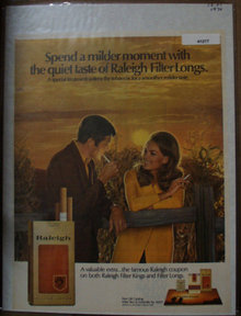 Raleigh Cigarettes 1970 Ad filter longs