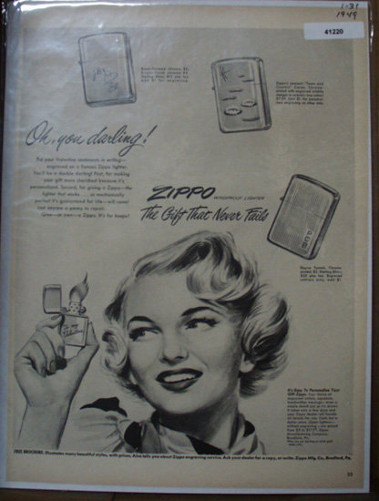 Zippo Windproof Lighter 1949 Ad with valentines inscription