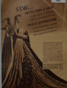 Sears Fabric 1938 Ad features Paris exhibition