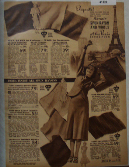 Sears Rayon And Wool Fabric 1938 Ad Anne Williams