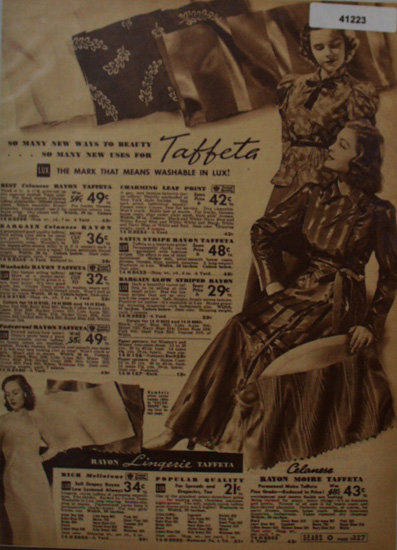Sears Taffeta Fabric 1938 Ad