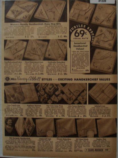 Sears Nancy Abbott Styles Handkerchiefs 1936 Ad