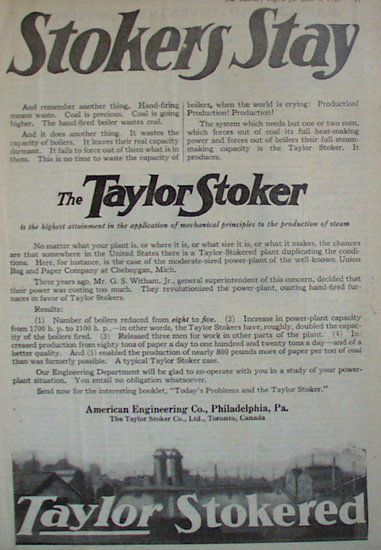Taylor Engineering Co. Stoker 1920 Ad