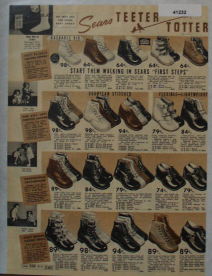 Sears Teeter Totter Shoes 1938 Ad for babies and tots
