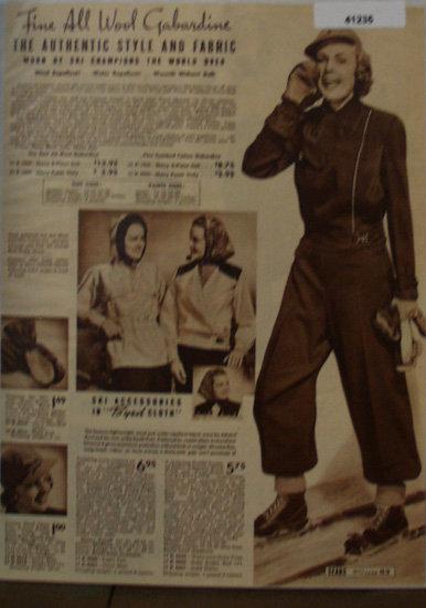 Sears Womens Ski Outfits 1938 Ad