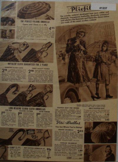 Sears Umbrellas 1938 Ad pliofilm