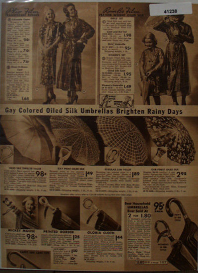 Sears Rain Coats and Umbrellas 1938 Ad Plio film
