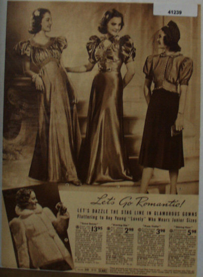 Sears Womens Gowns And Snow Bunny Coat 1938 Ad Romantic