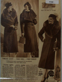 Sears Womens Trimline Coats 1938 Ad finer furs