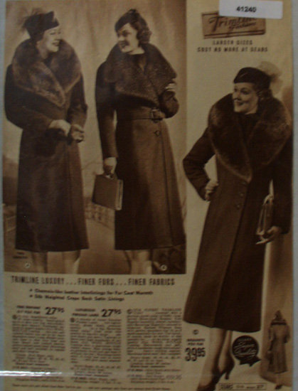 Sears Womens Trimline Coats 1938 Ad finer furs